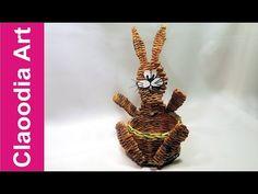 Cesta conejito, papel de mimbre - YouTube