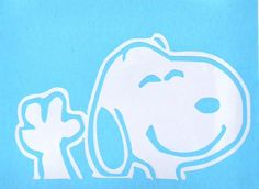 Snoopy Dog Waving Funny **WHITE ONLY** Car Truck Window Vinyl Decal Sticker in Graphics Decals | eBay