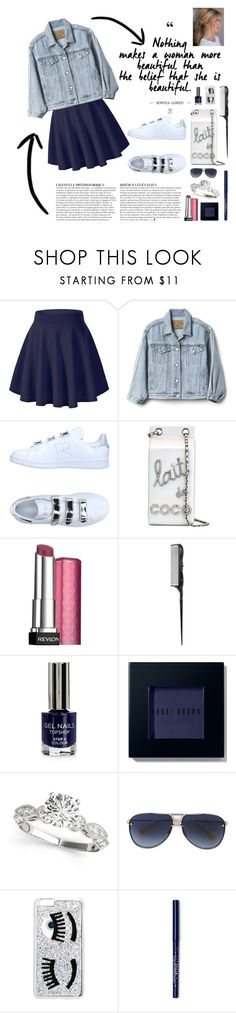 """""""denim jacket"""" by anabelisstyle ❤ liked on Polyvore featuring Gap, adidas, Chanel, Anja, Revlon, Anna Sui, Topshop, Bobbi Brown Cosmetics, Dita and Chiara Ferragni"""