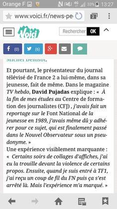 .@davidpujadas faisait l infiltré au @FN_officiel dans sa jeunesse.  Depuis il a son fauteuil au dîner du Siècle