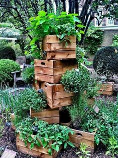 Stacked Crates with Overflowing Greenery #ContainerGarden