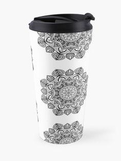 """Black Mandala Pattern - Just Let Go"" Travel Mug by klyngiant   Redbubble Mandala Pattern, Travel Mug, Letting Go, Let It Be, Mugs, Tableware, Accessories, Black, Dinnerware"