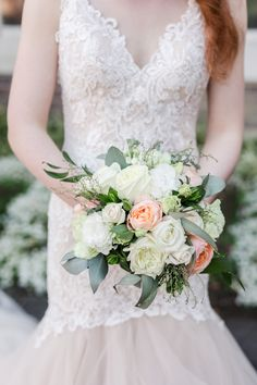 Wedding Flowers / bridal bouquet / wedding florals, garden roses, roses, peach and white Floral Wedding, Wedding Bouquets, Wedding Flowers, Wedding Dresses, Anna, Auckland, Wedding Details, Wedding Photography, Garden Roses