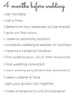 A 4 Month Engagement Wedding Planning Checklist