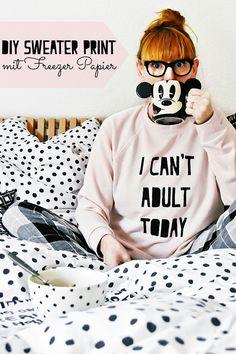 DIY-Tutorial - Sweater Print selbermachen | cooles Sprüche T-Shirt mit Freezer-Papier schalblonieren | luziapimpinella.com