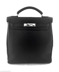 Authentic RARE Hermes Evergrain Ado Kelly Backpack With Palladium Hardware 82617fb3d4eb1