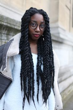 They Are Wearing: Paris Fashion Week WWD.com; large Marley twists for protective styling.