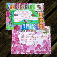 English Garden envelopes by Rebecca Evans for The Elevated Envelope mail art exchange.