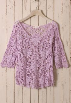 Lovely Lavender Floral Crochet Top ~ this would look beautiful layered over a short-sleeved purple top! :)