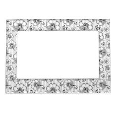 Cute black white seamless flowers patterns magnetic photo frame - pattern sample design template diy cyo customize