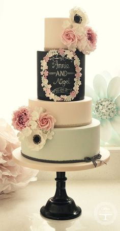 Pretty pastel wedding cake with chalkboard-inspired design | 35 Wedding Cake Inspiration