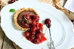 Gluten Free Chocolate Tofu Tartlets with Cherry Compote