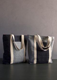 Favorite Totes in Denim with Colored Motes | Purl Soho - Create Free pattern&tutorial