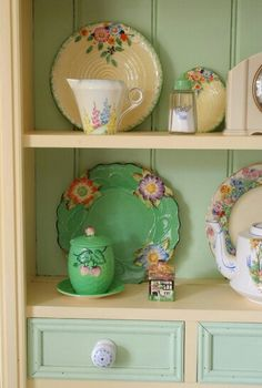 Gorgeous display of vintage dishes ... too pretty to hide in the cupboard!