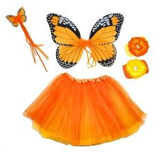 Girls 4pc Monarch Butterfly Fairy Costume Set. Color: Yellow and Orange by Lil Princess, http://www.amazon.com/dp/B0097WZ7SM/ref=cm_sw_r_pi_dp_S.Gisb0V4XBJN