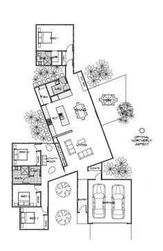Floor Plan Friday: Private & Practical Using Pods A lovely reader sent me this f. - Floor Plan Friday: Private & Practical Using Pods A lovely reader sent me this floor plan last week - Nikola Tesla, Beautiful House Plans, Beautiful Homes, Beautiful Beautiful, Beautiful Bedrooms, House Plans With Photos, Bond, Energy Efficient Homes, House Layouts
