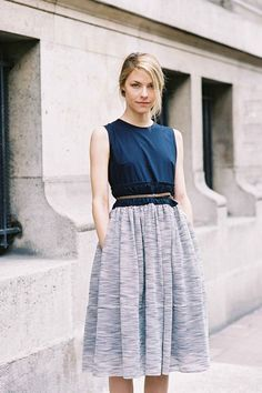 French singer Mohini Geisweiller, after Carven, Paris, March 2012. in twill & tweed dress.