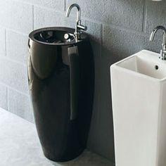 Lave main Noir gain de place 43x30 cm, céramique, Pure
