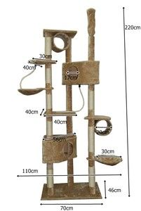 220 cm Extra Large Cat Kitten Pet Tree Bed Scratching Pole Post Furniture