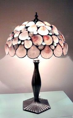 Seashells Table Lamp Stained Glass Pink
