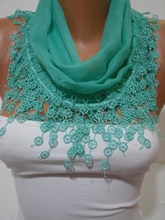 SpringGreen Cotton Shawl/ Scarf  Headband  Cowl with by DIDUCI, $14.50