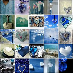 Hearts for Valentine's Day. Heart In Nature, Heart Art, Love Blue, Blue And White, Blue Shed, Collages, Color Collage, Beautiful Collage, New Years Decorations