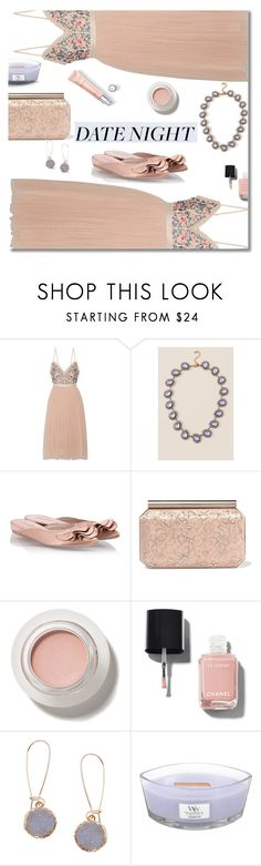 """Date night"" by nineseventyseven ❤ liked on Polyvore featuring Needle & Thread, Francesca's, Pedro García, Oscar de la Renta, Chanel, Humble Chic, WoodWick and summerdatenight"