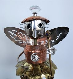 Fairy assemblage sculpture found object robot Guardian