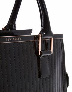 Ted Baker | Ted Baker Jaide Black Quilted Enamel Large Tote Bag at ASOS