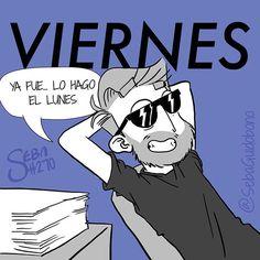 Viernes... ese día en el que ya no te importa nada #SebaDibujando #viernes #dibujo #relax #nolohagonienpedo