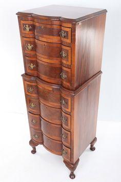 Queen Anne Style walnut serpentine tallboy / chest on chest (England)