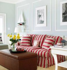 Nautical Living Room Colors with Red Striped Sofa: http://www.completely-coastal.com/2016/01/coastal-living-room-color-ideas-Better-Homes-and-Gardens.html