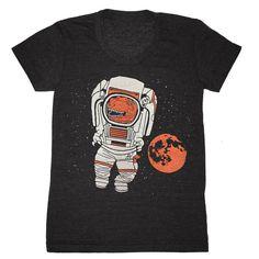 ENTREPRISES DE GNOME   Imprimerie à Brooklyn, New York.  Conception de Trex astronaute sur charbon de bois Athletic - encolure dégagée Baby Doll