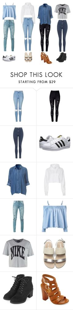 """Outfits #1"" by rachelsdescription ❤ liked on Polyvore featuring Topshop, WithChic, adidas Originals, River Island, Yves Saint Laurent, Sandy Liang, NIKE and Bamboo"