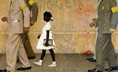 Ruby Bridges made history in 1964 when she attended a formerly all-white school. She visited the White House to see a painting of her historic first day by Norman Rockwell that is on display outside the Oval Office through the summer of 2011 Peintures Norman Rockwell, Norman Rockwell Art, Norman Rockwell Paintings, Black History, Art History, Textile Museum, Wax Museum, Political Art, Museum Exhibition