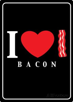 I Heart Bacon Placa de lata