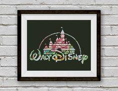 BOGO FREE! Disney Cross Stitch Pattern, Floral Disney Castle Silhouette, Disney Logo xStitch, Modern Decor, PDF Instant Download #025-23-2 by StitchLine on Etsy