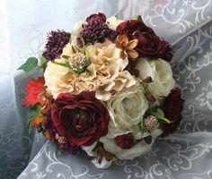 Autumn Bridal Bouquet - Romantic Rose Boutonniere - Rustic Wedding - Ivory & Burgundy - Fall Wedding - Ranunculus Bouquet - Burlap and Lace