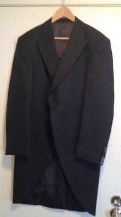 NEW Alexander Dobell Wool Black  Herringbone Tweed Button Tailcoat 44R Tux $189