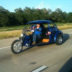 Volkswagen Bug turned motorcycle. Tacky-licious!