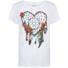 Denim & Supply Ralph Lauren Dreamcatcher T-Shirt ($51) ❤ liked on Polyvore featuring tops, t-shirts, graphic design t shirts, cotton tee, short sleeve tops, graphic t shirts and graphic tees