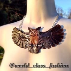 Hand tooled leather owl on sterling sliver necklace.