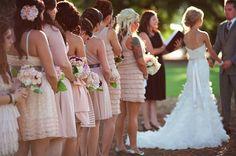 Bridesmaids in pink dresses @ love & lavender