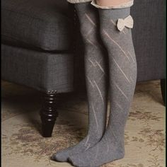 ❗2 COLORS❗ Over The Knee Bow Ruffle Boot Socks Adorable!!! Also available in ivory! Accessories Hosiery & Socks