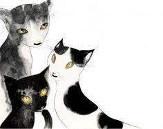 Raquel Aparicio, illustration-loving cats of all sizes and color mewo