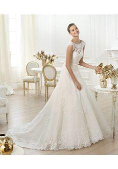 シック モダン ジュエルネック チャペル サテン 花嫁のドレス Aライン ウェディングドレス Hpr0042