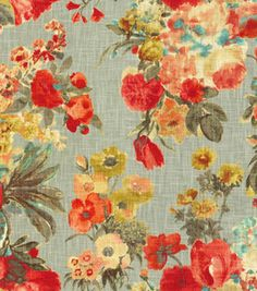 Joann Fabric  # 12648754 reg. 34.99 SALE 13.99 60% off HGTV Home Decor Fabric 54'' Wide. 100% Cotton. Repeat: 27''V x 27''H. Vacuum, Cleaning Agents Should Not Be Used, Professional Cleaning Recommended. Made In USA.