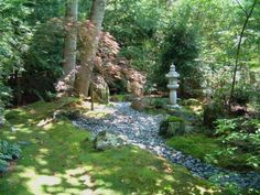 Moss gardens mean even shade is no deterrent to green. Moss gardens mean even shade is no deterrent to green. Moss makes a beautiful border in this Japanese garden and requires no mowing leaving more time for meditation. Backyard Vegetable Gardens, Ponds Backyard, Backyard Landscaping, Outdoor Gardens, Backyard Ideas, Landscaping Ideas, Backyard Patio, Patio Ideas, Sloping Backyard