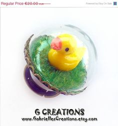 ON SALE Miniature Duck Globe Ring  Mini by GabriellesCreations