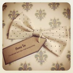 Womens hair bow handmade from ivory and black polka dot cotton, by Beau Tie, £18.00